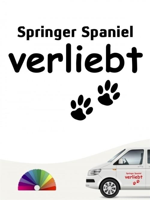 Hunde-Autoaufkleber Springer Spaniel verliebt von Anfalas.de