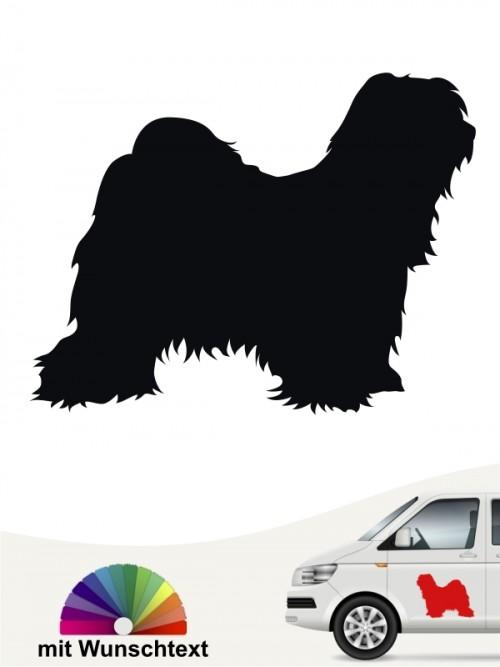 Tibet Terrier Hundeaufkleber mit Wunschtext anfalas.de