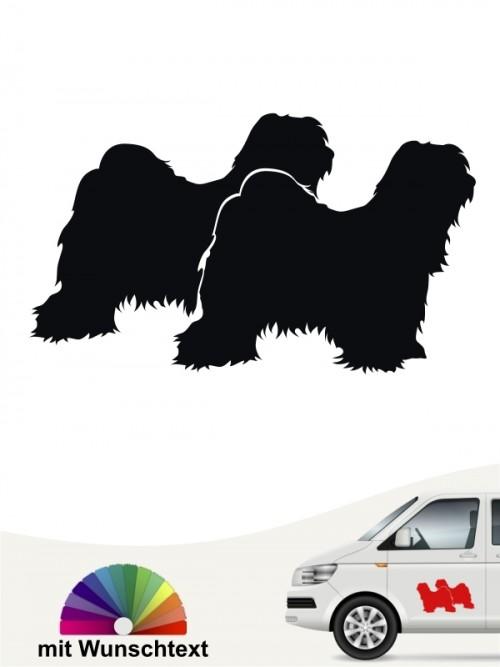 Tibet Terrier doppelte Silhouette mit Wunschtext anfalas.de