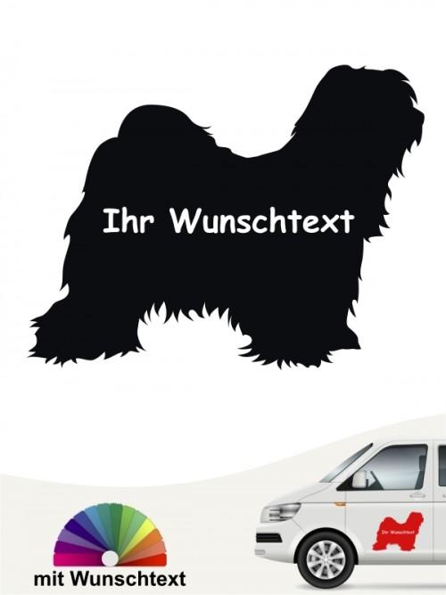 Tibet Terrier Silhouette Autosticker mit Wunschname anfalas.de