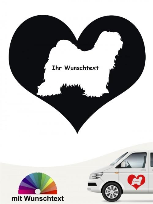 Tibet Terrier Hundeaufkleber Herzmotiv mit Wunschname anfalas.de