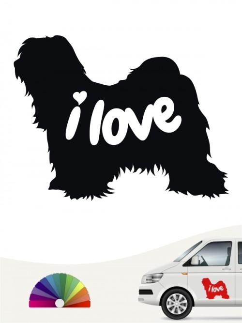 Tibet Terrier  i love Aufkleber von anfalas.de
