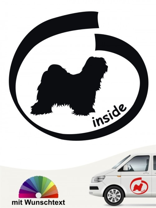 Tibet Terrier inside Sticker mit Wunschtext anfalas.de