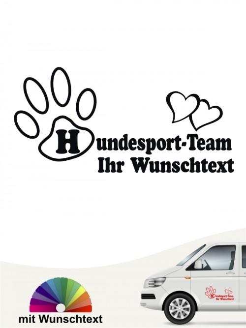 Hundesport Team Aufkleber mit Wunschtext von anfalas.de