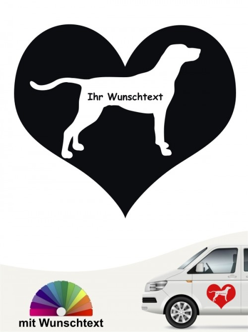 Weimaraner Herzmotiv Autoaufkleber mit Wunschname anfalas.de