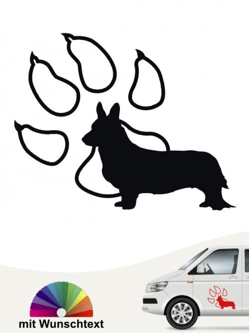 Welsh Corgi Silhouette mit Pfote Aufkleber anfalas.de