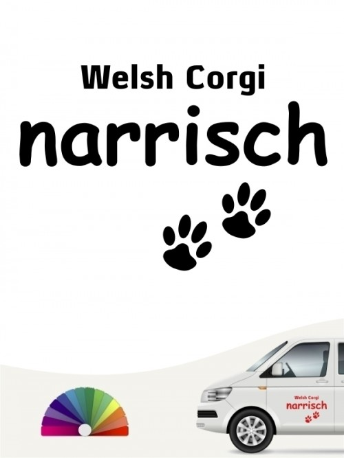 Hunde-Autoaufkleber Welsh Corgi narrisch von Anfalas.de
