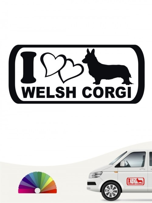 Heckscheibenaufkleber I Love Welsh Corgi anfalas.de