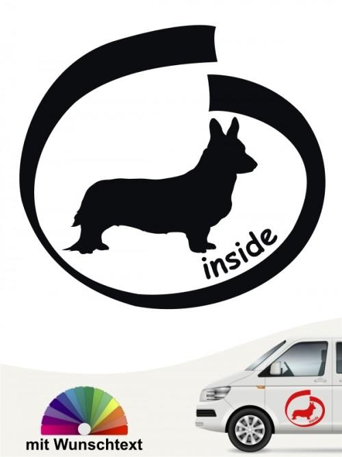 Inside Hundeaufkleber Welsh Corgi mit Wunschtext anfalas.de