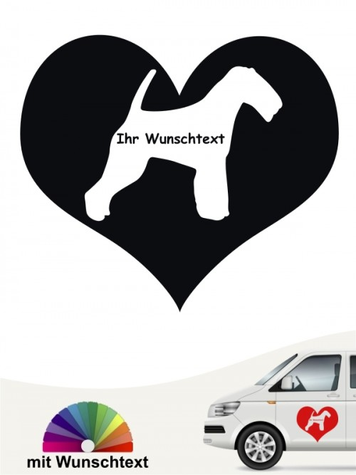Welsh Terrier Herzmotiv Aufkleber mit Wunschname anfalas.de