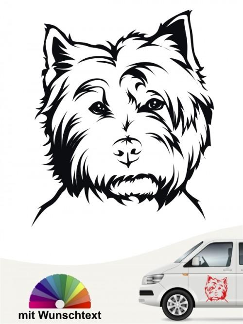West Highland Terrier Kopf Autoaufkleber mit Wunschtext anfalas.de
