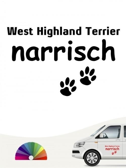 Hunde-Autoaufkleber West Highland Terrier narrisch von Anfalas.de