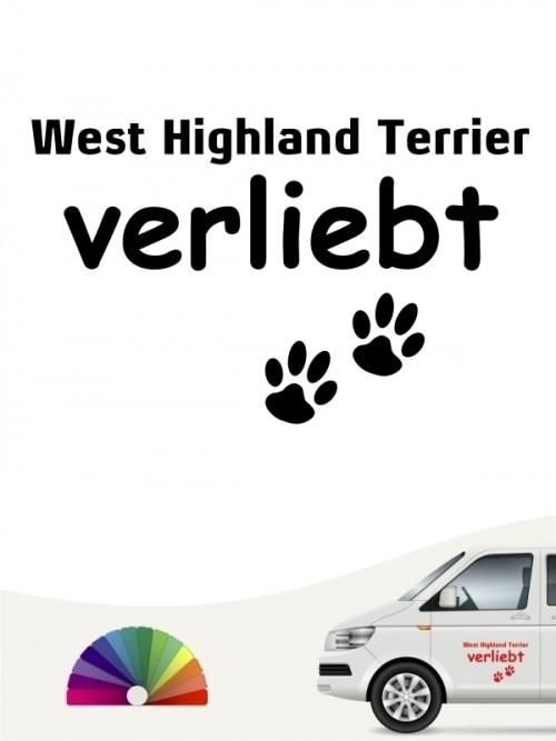 Hunde-Autoaufkleber West Highland Terrier verliebt von Anfalas.de