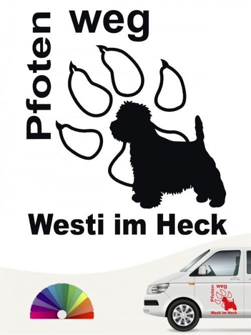 Pfoten weg Westi im Heck Autoaufkleber anfalas.de