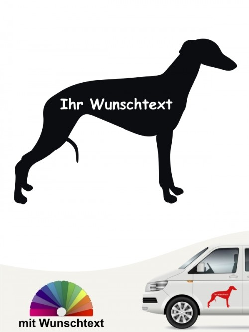 Whippet Aufkleber Silhouette mit Wunschname anfalas.de