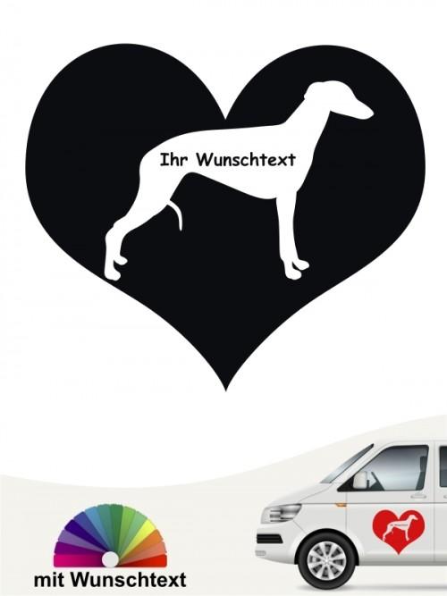 Whippet Autosticker Silhouette im Herz mit Wunschname anfalas.de