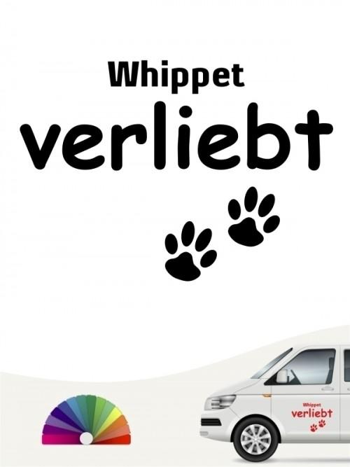 Hunde-Autoaufkleber Whippet verliebt von Anfalas.de