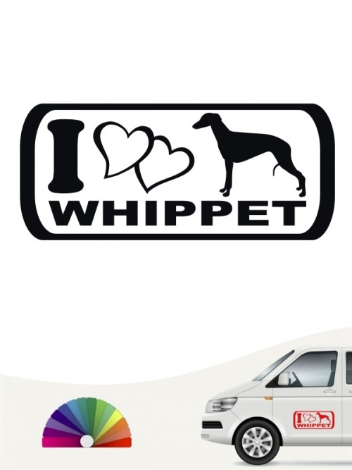 I Love Whippet Heckscheibenaufkleber anfalas.de