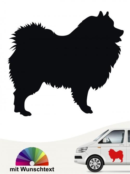 Wolfsspitz Hundesilhouette Autosticker mit Wunschtext anfalas.de