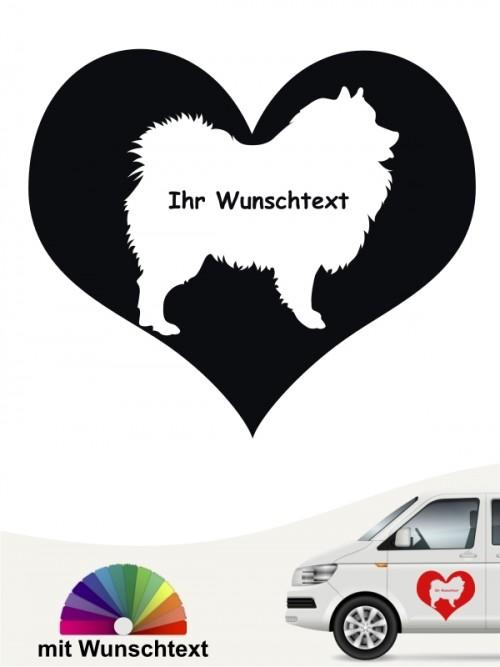 Wolfsspitz / Keeshond Sticker Herzmotiv mit Wunschname anfalas.de
