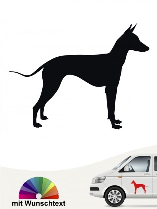 Xoloitzcuintle Autoaufkleber Silhouettte mit Wunschtext anfalas.de