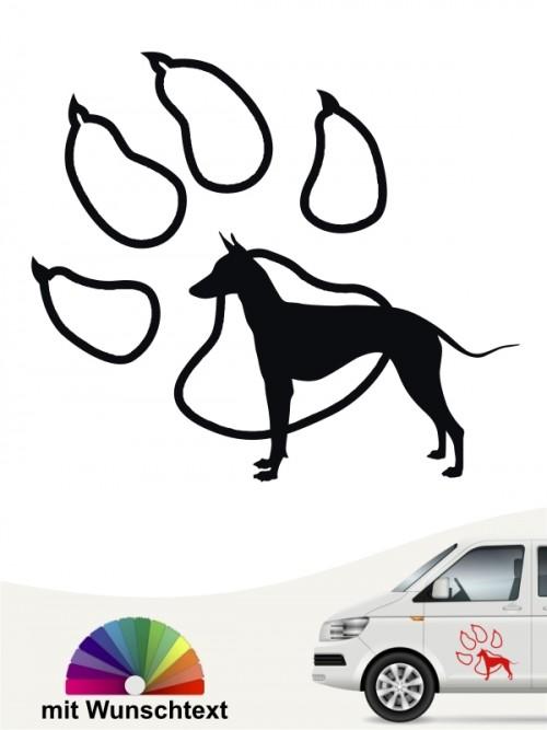 Xoloitzcuintle Autoaufkleber Pfote und Silhouette mit Wunschtext anfalas.de