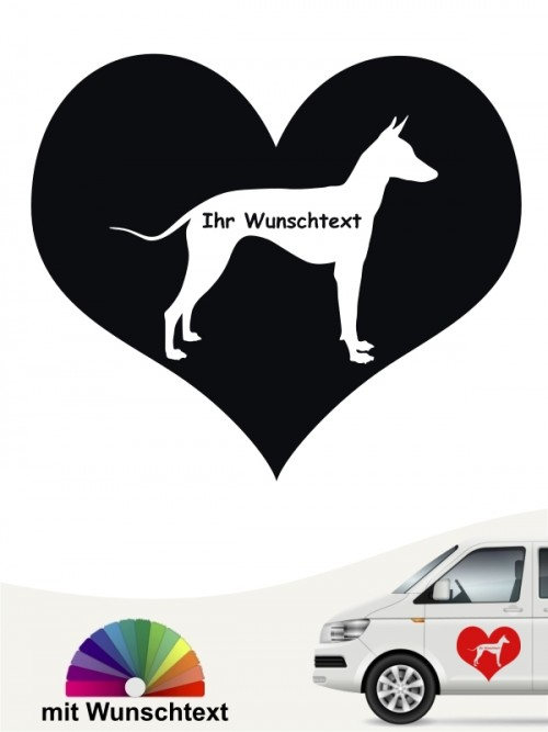 Xoloitzcuintle Herzmotiv mit Wunschtext Autoaufkleber anfalas.de