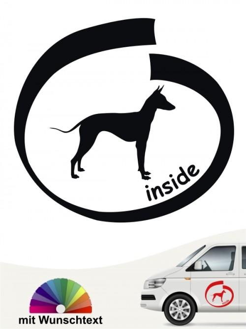 Xoloitzcuintle Autoaufkleber mit Wunschtext inside anfalas.de