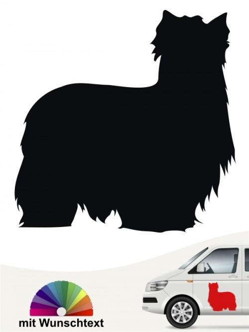 Yorkshire Terrier Autoaufkleber Silhouette mit Wunschtext anfalas.de