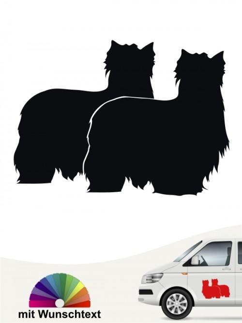 Yorkshire Terrier Autoaufkleber doppelte Silhouette mit Wunschtext anfalas.de