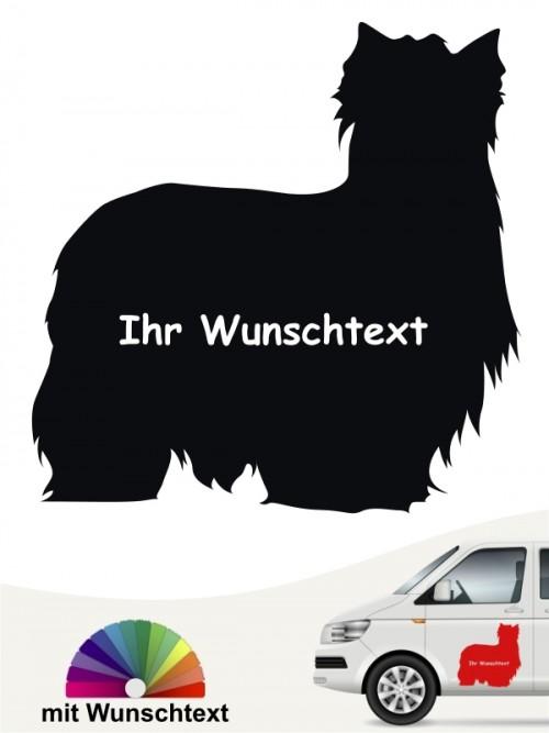 Yorkshire Terrier Aufkleber Silhouette mit Wunschtext anfalas.de