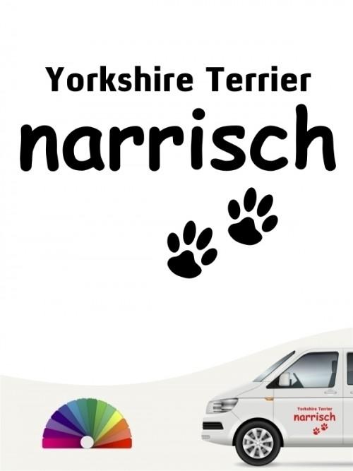 Hunde-Autoaufkleber Yorkshire Terrier narrisch von Anfalas.de