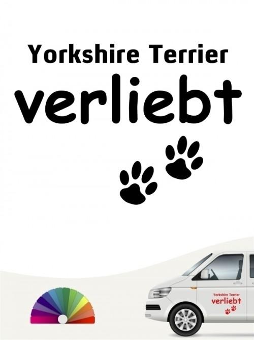Hunde-Autoaufkleber Yorkshire Terrier verliebt von Anfalas.de