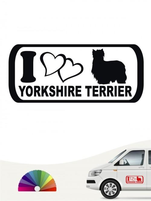 Yorkshire Terrier Autoaufkleber I love anfalas.de