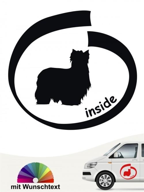 Yorhsire Terrier  Autoaufkleber inside mit Wunschtext anfalas.de