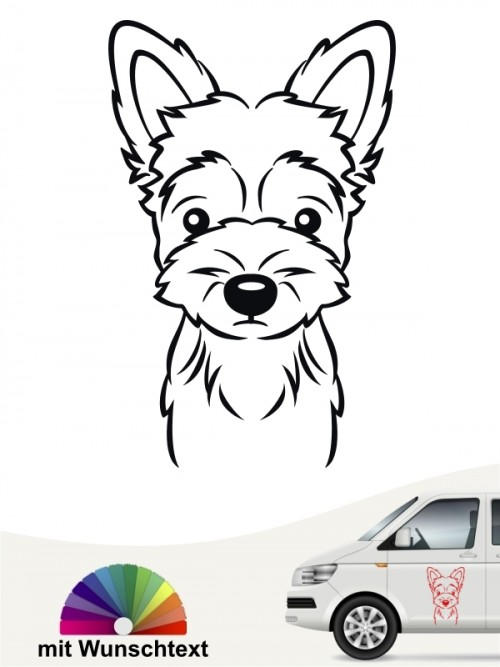 Yorkshire Terrier Autoaufkleber Comic Kopf mit Wunschtext anfalas.de