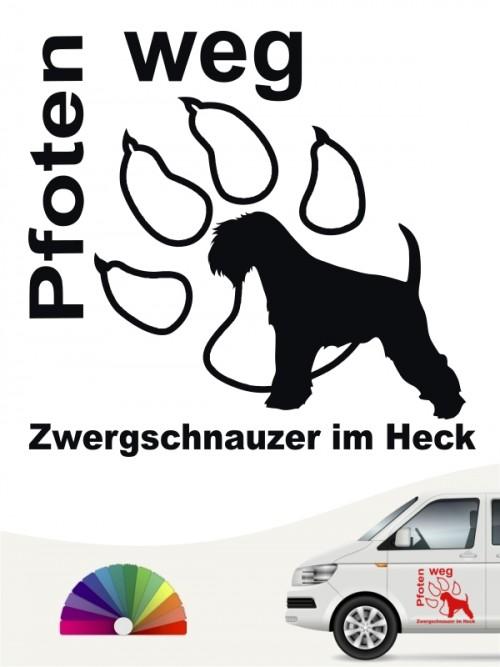 Pfoten weg Aufkleber Zwerschnauzer anfalas.de