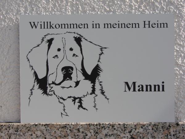 Berner Sennenhund Warnschild Anfalas.de